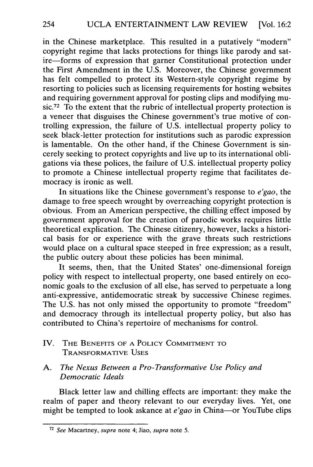 254 UCLA ENTERTAINMENT LAW REVIEW [Vol. 16:2 in the Chinese marketplace.