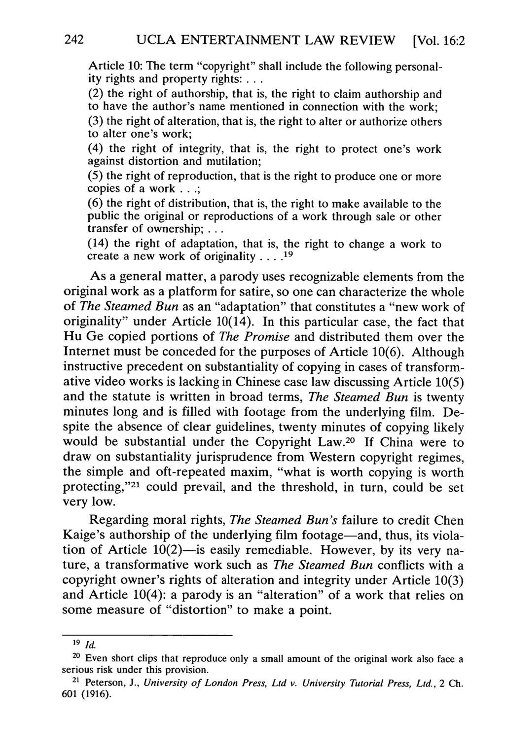 "242 UCLA ENTERTAINMENT LAW REVIEW [Vol. 16:2 Article 10: The term ""copyright"" shall include the following personality rights and property rights:."