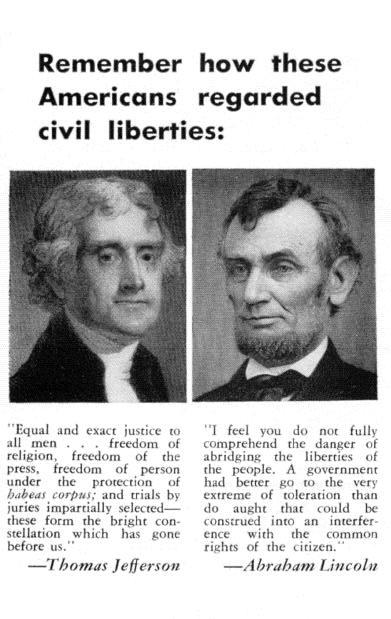 Remember how these Americans regarded civil liberties: Equal and exact jusrice co all men. freedom of religion, fa&n of the ;ms; f;;:dom of.