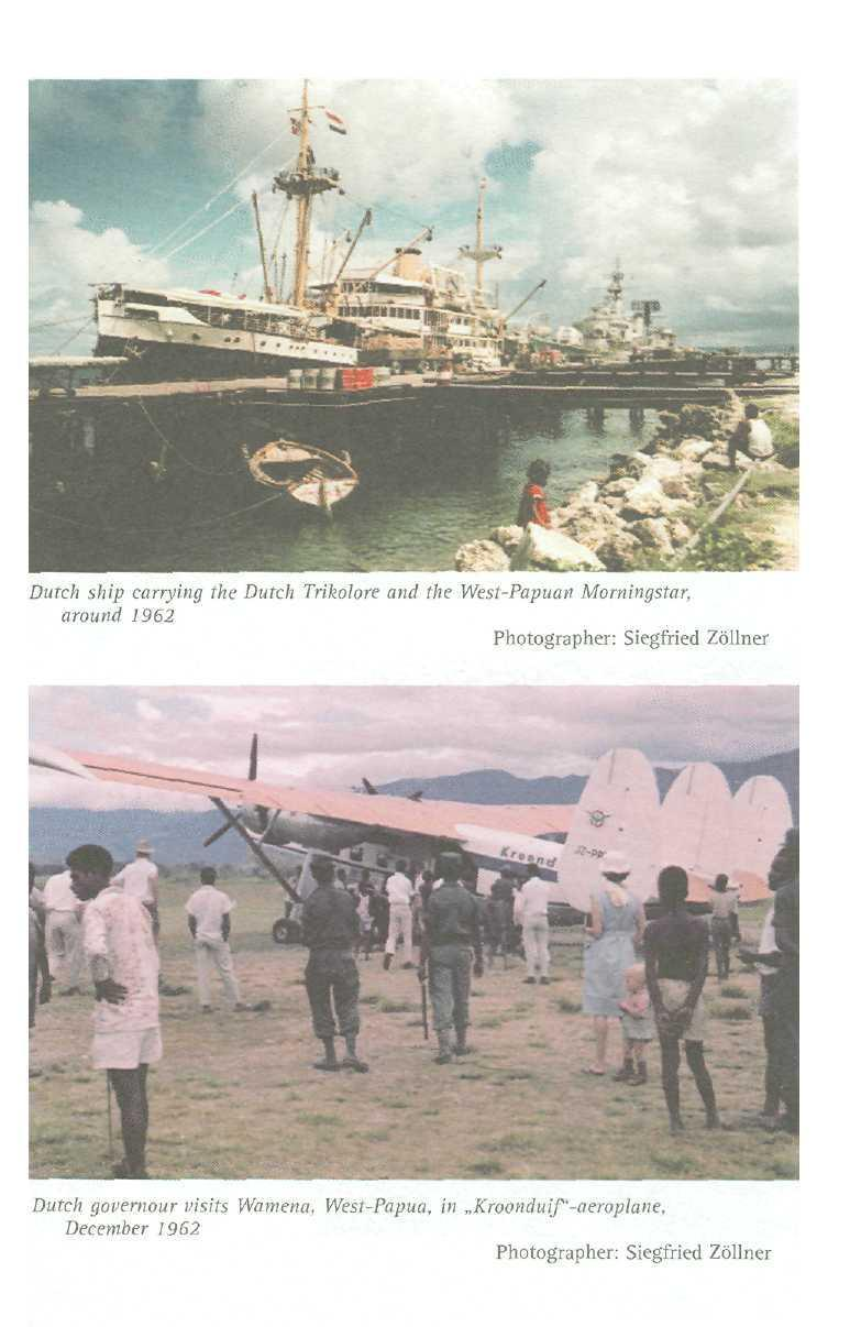 Dutch ship carrying the Dutch Trikolore and the West-Papuan Momingstar, around 1962 Photographer: Siegfried