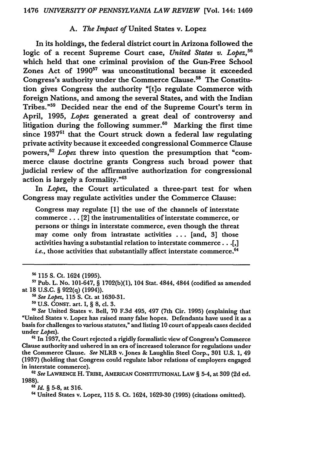 1476 UNIVERSITY OF PENNSYLVANIA LAW REVIEW [Vol. 144: 1469 A. The Impact of United States v.