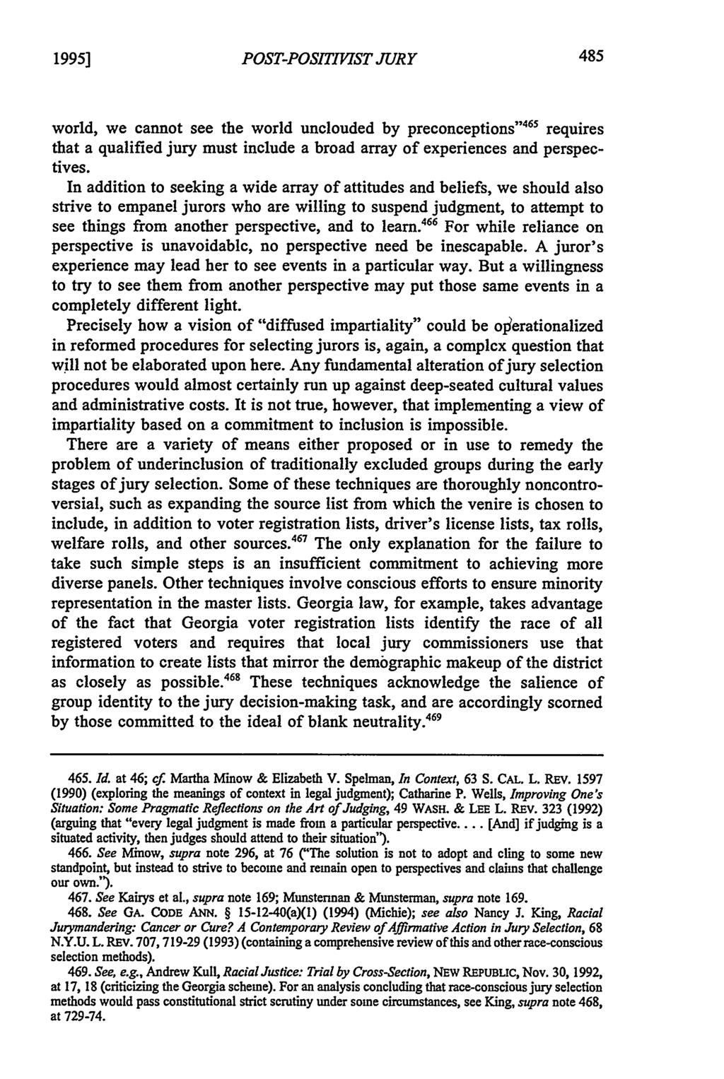 "1995] POST-POSITIVIST JURY world, we cannot see the world unclouded by preconceptions ""'4 5 requires that a qualified jury must include a broad array of experiences and perspectives."