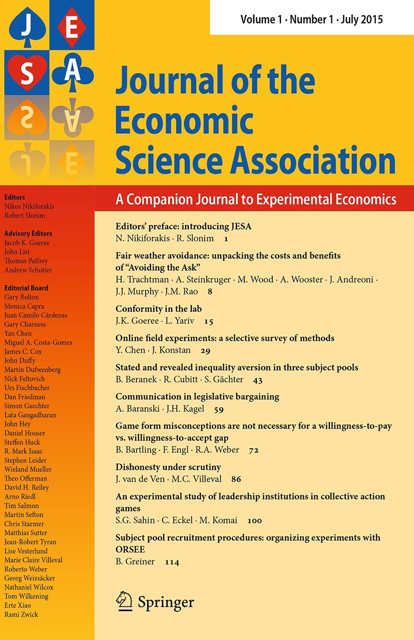Journal to Experimental Economics ISSN 2199-6776 Volume 1 Number