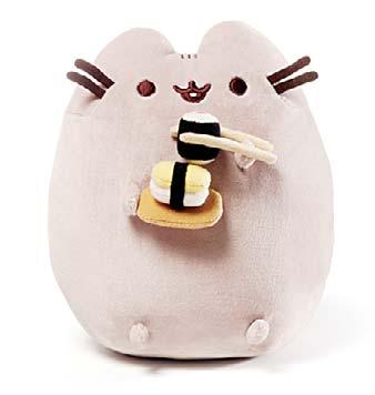 At the Toy Fair last month, Gund put Pusheen front and center at their booth, offering a collection of big and little cats as keychain and backpack clips, handheld toys, huggable pillows, and