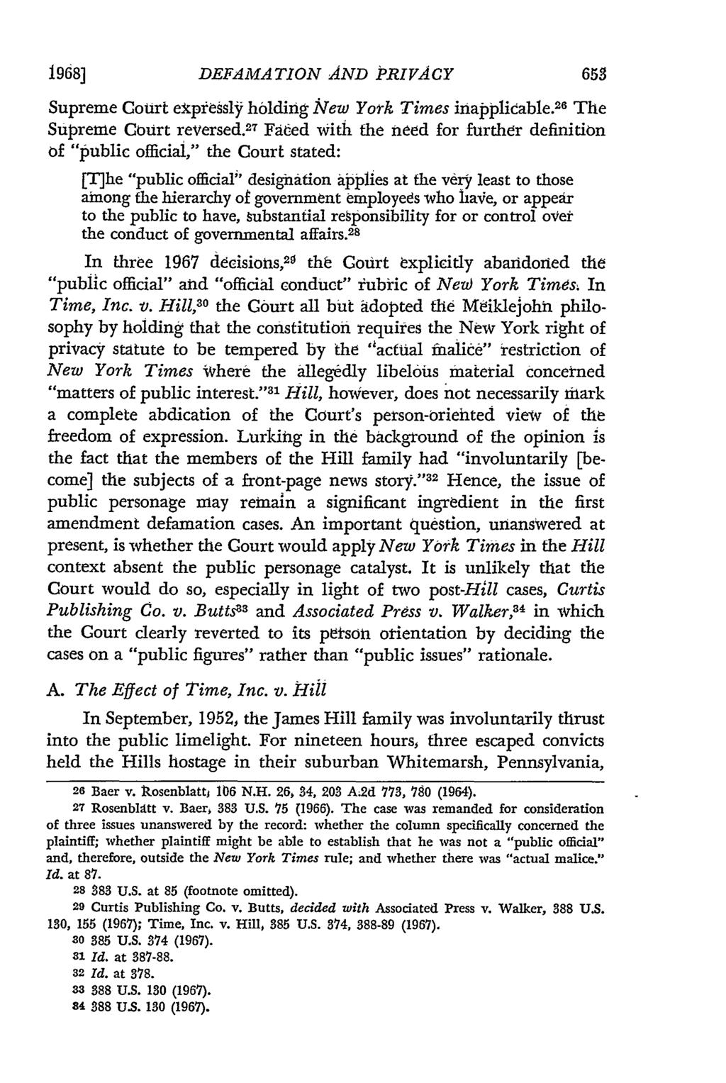 1968] DEFAMATION AND PRIVACY Supreme Court expressly holding lew York Times inapplicable. 26 The Supreme Court reversed.