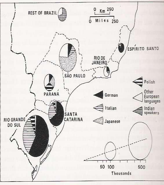 Figure 2. Southern Brazil: Numbers of people in southern Brazil at the time of the 1950 census who spoke a first language other than Portuguese. JP Dickenson, 1982, 72.