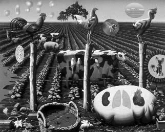 The Farm 2000, by Alexis Rockman the mid-1990s. In 1998, the European Union imposed a highly controversial moratorium on the approval of new GM crops for sale within its borders.