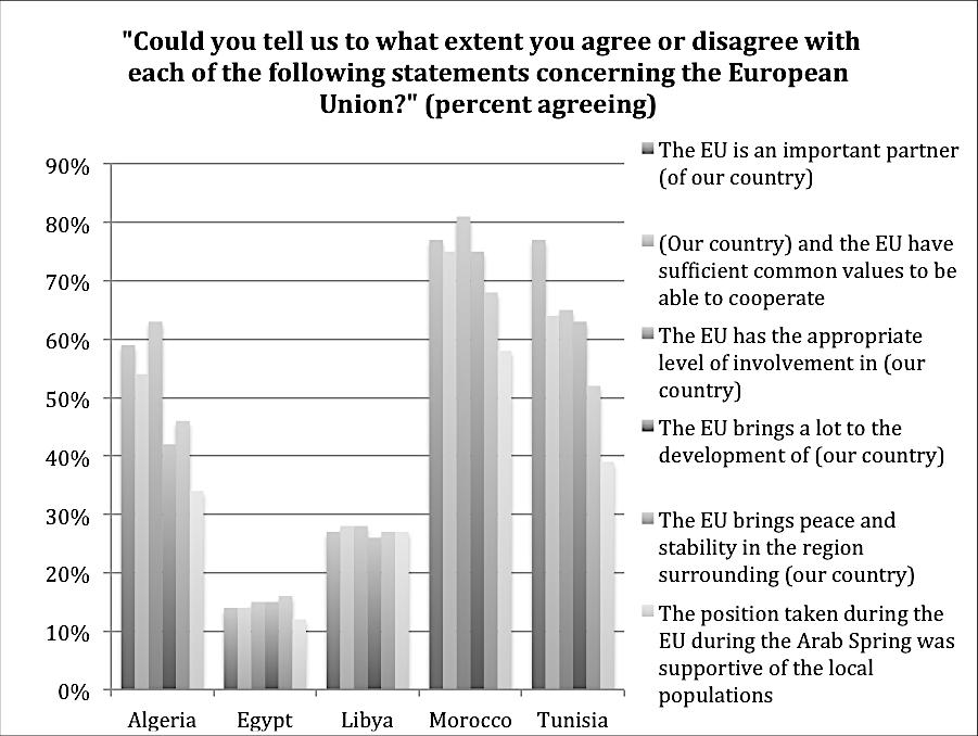 Only Moroccan respondents believed the EU played a supportive roll in democratic transition.