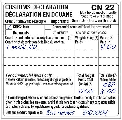 CN22 (Required for non-eu countries) For all packages being returned from countries outside the EU a customs form must be completed and affixed to the outside of the item Returned Goods (Description