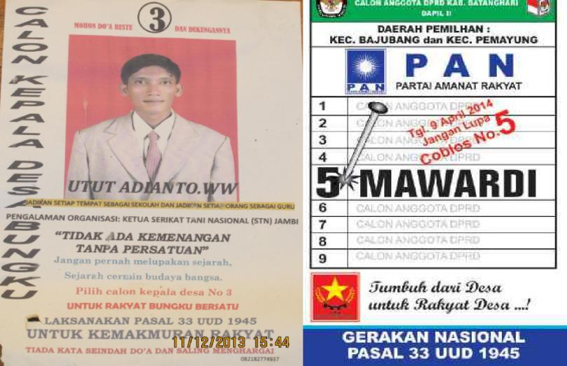 CATUR Figure 18 Left to Right: Catur s Campaign Poster for Election to Post of Village Head for the 2013-2020 Period; PRD Activist Candidate List for Legislative Election in 2014 R. Mardiana 4.1.6 Ujung Aspal Community: Adat Land Claim, To Whom is it for?