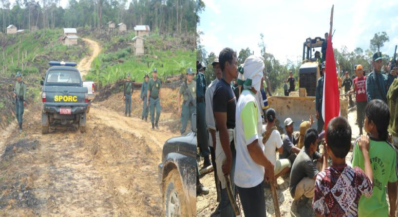 Figure 35 REKI Evicts Sei Jerat Community with Heavy Equipment and SPORC SPI Figure 36 Burning of Sei Jerat Community s Homes by REKI The left photo was taken when the incident was underway SPI The