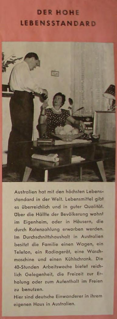 Source: Australien bietet ein neues Leben, Brochure published by the Australian Embassy, ca. 1960, AA B 85 479.
