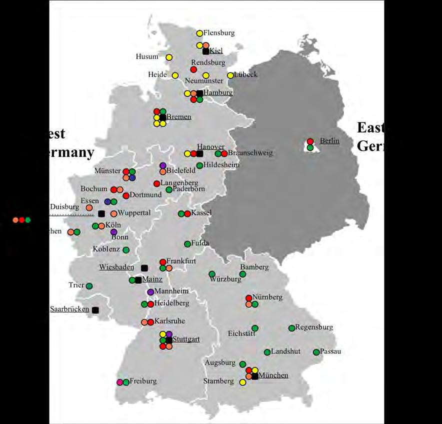 Map 1: Distribution of Migration Information Centres, West Germany 1954 Legend: Catholic Girls Protection Club St.