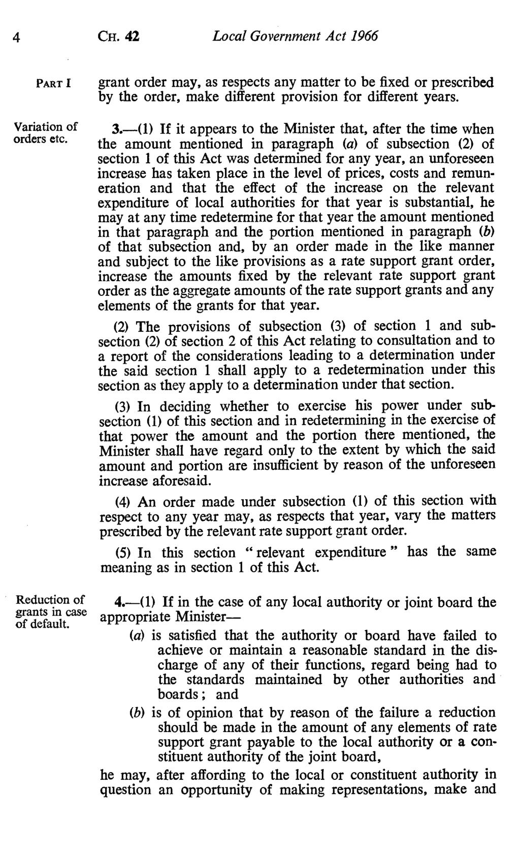 4 CH. 42 Local Government Act 1966 PART I Variation of orders etc. Reduction of grants in case of default.