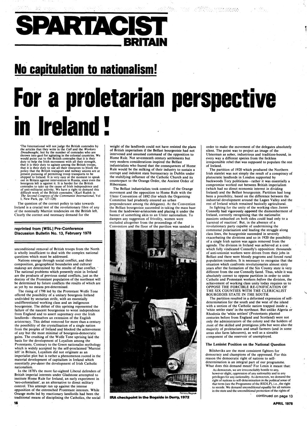 BRITAIN' No cagitulation to.nationalism! For a proletarian perspective in Ireland!
