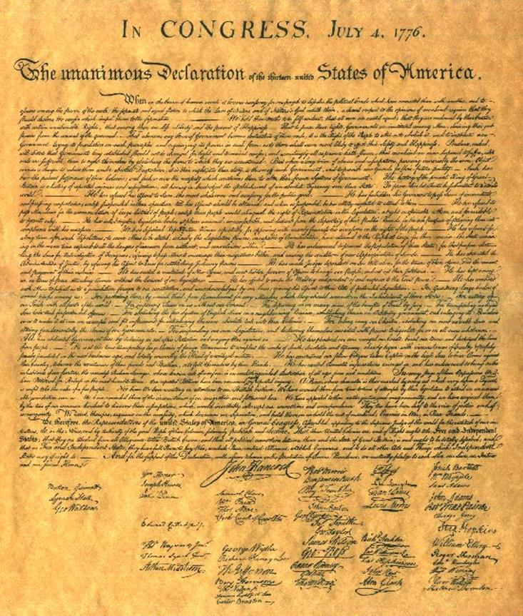 Declaration of Independence The Declaration is divided up into 5 sections: 1. Preamble: The introduction or statement of purpose, which explained the need for the Declaration 2.