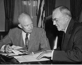 Eisenhower Doctrine President Eisenhower with his Secretary of State John Dulles The Eisenhower Doctrine was announced in a speech to Congress on January 5, 1957.