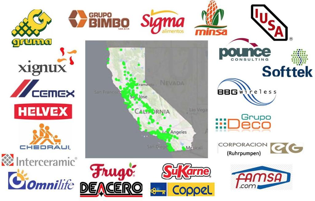 Mexican investment support jobs in California Mexican companies operate 735 business establishments in