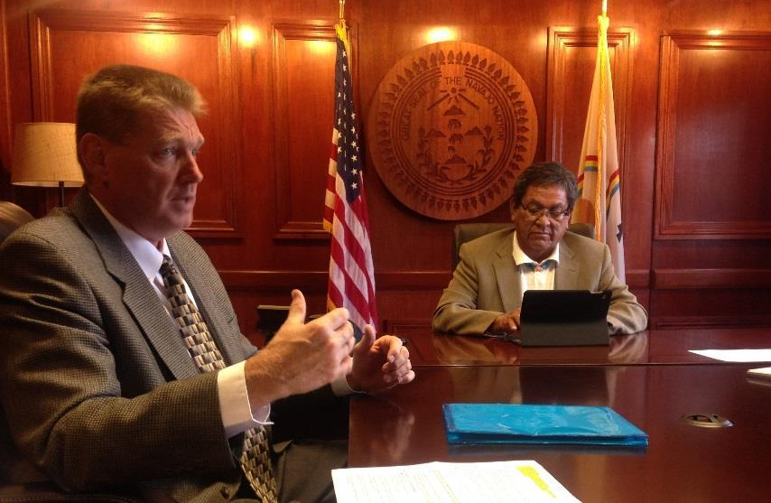 Time to exercise that option Walter Haase, general manager of the Navajo Tribal Utility Authority, left, is seen here at a meeting with Navajo Nation President Russell Begaye.