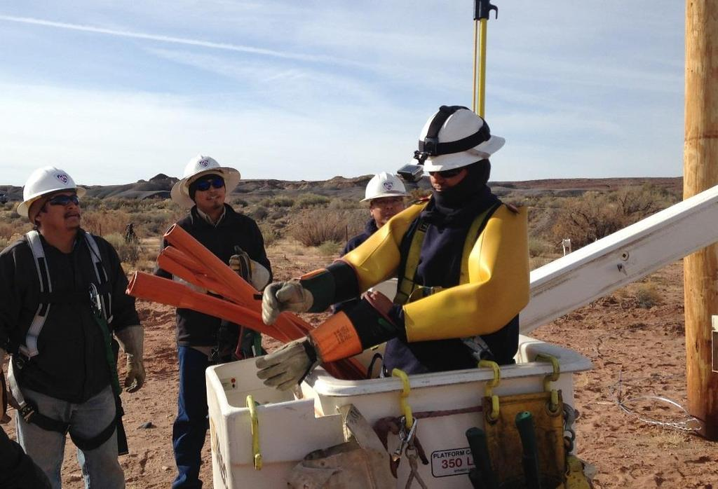Electric crews take care of electrical equipment on the 27,000-square-mile Navajo Nation. Because the territory is vast and the population sparse, it can be very expensive to bring in poles and wires.
