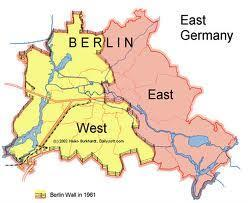 divided into zones and city of Berlin divided into 2 W Germany and W Berlin