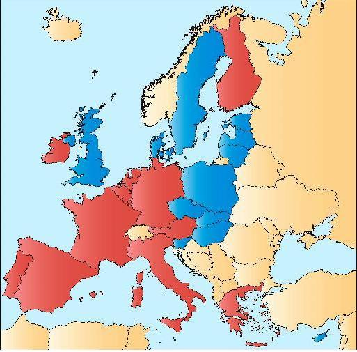 EU/EMS Members of the Economic and Monetary Union (EMU) Countries in red: EU members that use the euro and are members of the EMU.