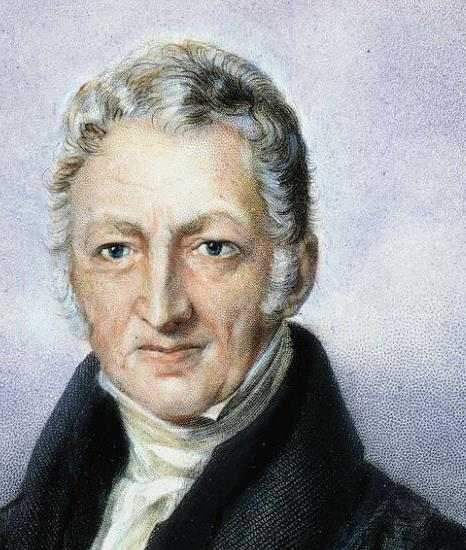 Malthus thinks populations grow faster than food supply Wars, epidemics kill off extra people or misery