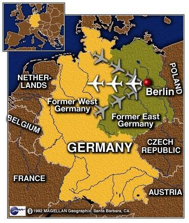 AMERICA & BRITAIN AIRLIFT SUPPLIES TO WEST BERLIN Not wanting to invade and start a war with the Soviets, America and Britain started the Berlin airlift to fly supplies into West