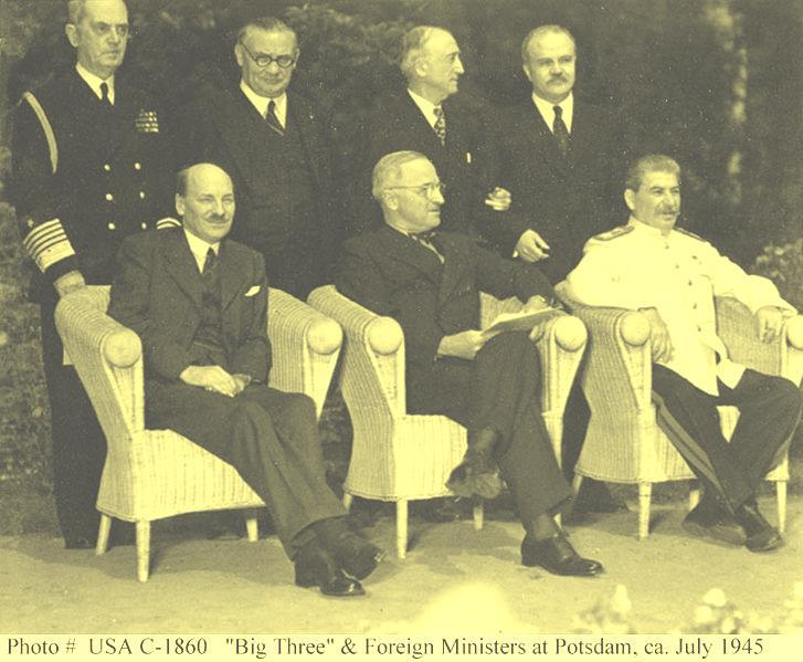 Potsdam At the Potsdam Conference (near Berlin) in July & August 1945, the leaders of America (Truman), England (Attlee) and the Soviet Union (Stalin) met again.