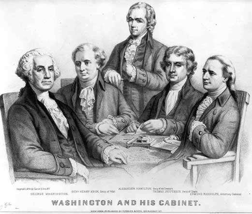 The First Cabinet Idea created by Washington John Adams as Vice President Thomas Jefferson as Secretary of State