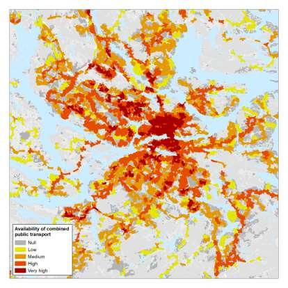 Stockholm: areas and population by access to public