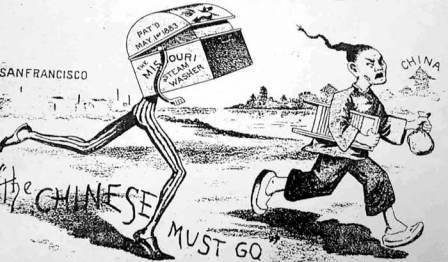Analyze the political cartoon Based on this political cartoon, what can you conclude about how people felt about the immigrants in America?