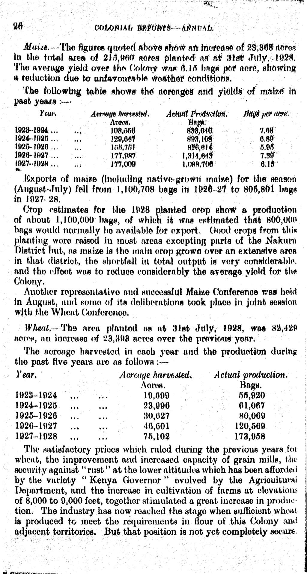 26 cohomalt M&fM&~~~A$nvAij, Mam. The figure* quoted above show art increase at 28,368 acres In the total area of 215,060 aefes jmaoted 1 a# &# 31.# July, 1928.