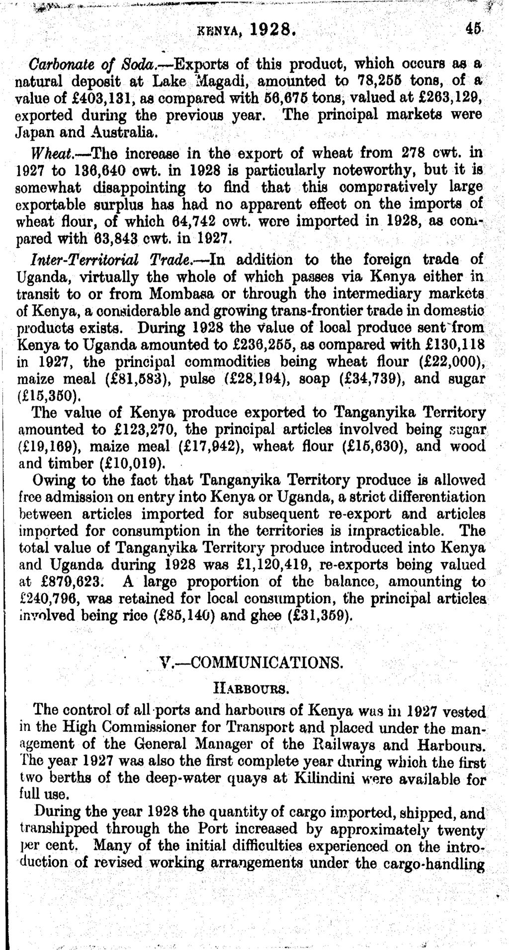 KENYA, 1928. 45 Carbonate of Soda.