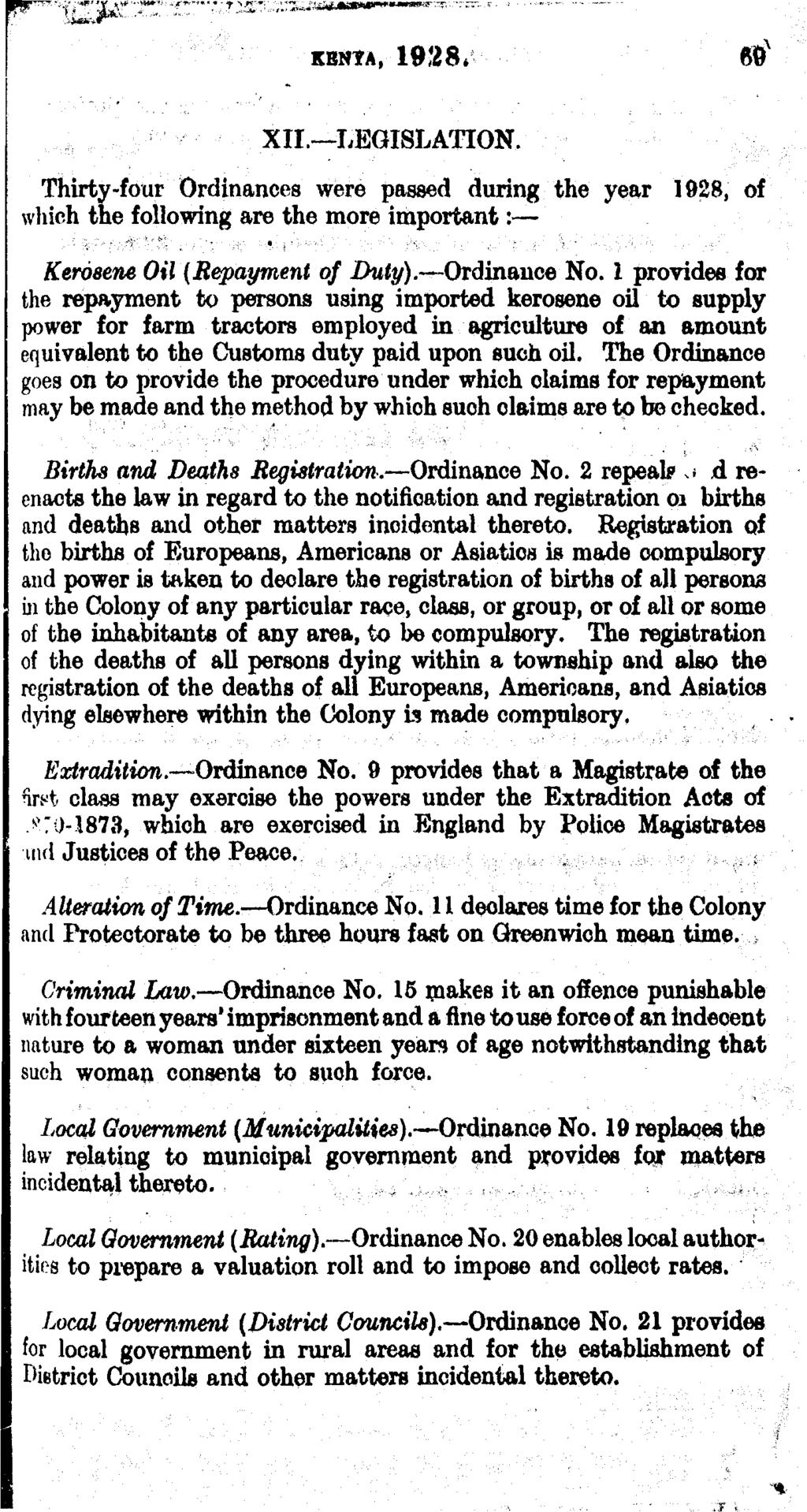 kenta, 1928* e x XII. LEGISLATION. Thirty-four Ordinances were passed during the year 1028, of which the following are the more important: Kerosene Oil (Repayment of Duty). Ordinance No.