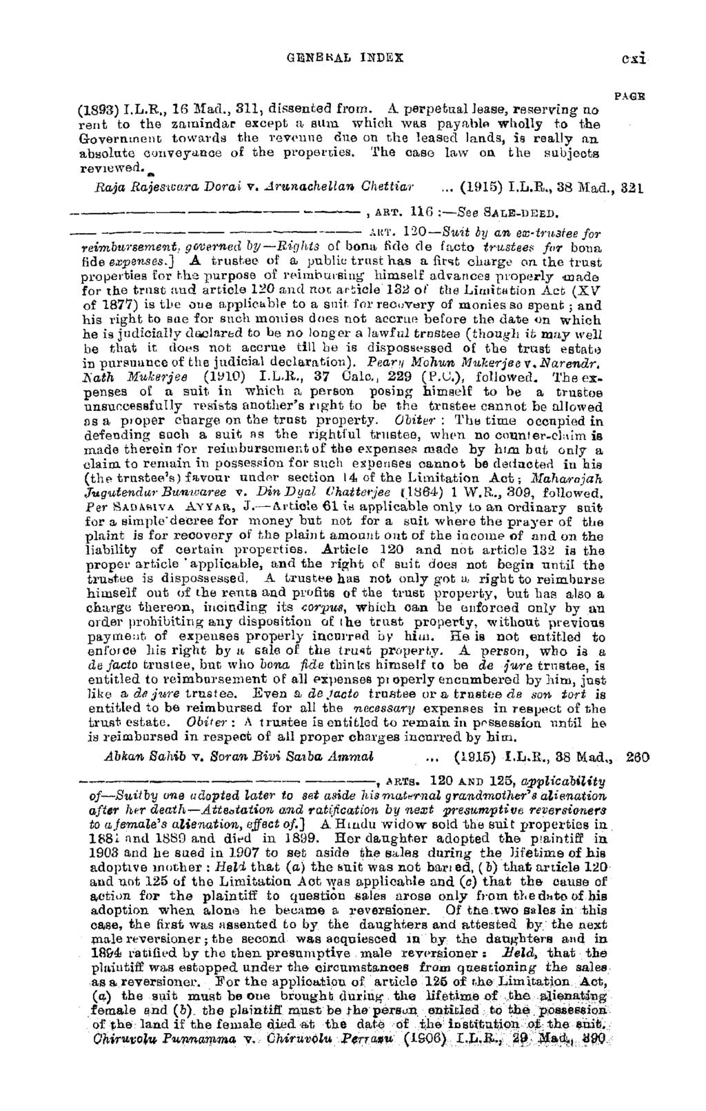 genbkal in dex c-xi (1893) I.L.R., 10 Mad., 311, dissented from.
