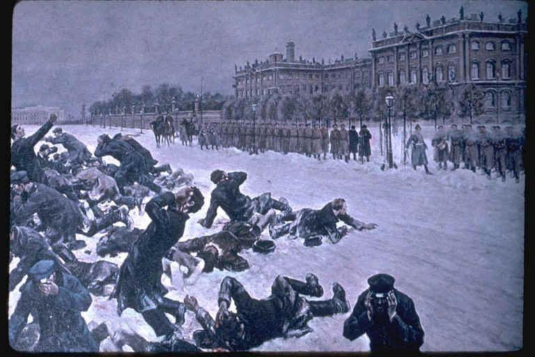 Bloody Sunday Unarmed peasants, led by Father Gapon,, marched to Winter Palace singing, God Save the Czar carrying petition requesting shorter work days, minimum wage, calling of a