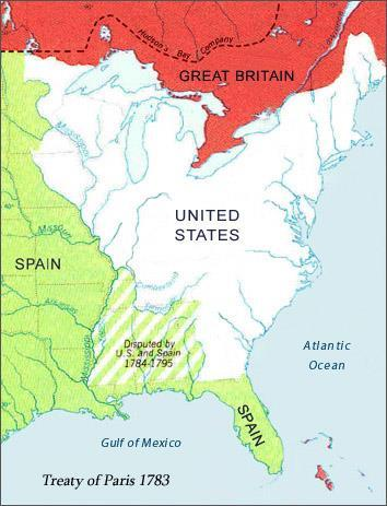 The Treaty of Paris--1783 Great Britain recognized the independence of the United States. The northern border between the US and Canada was established.