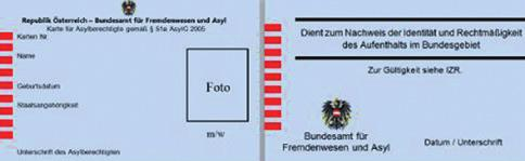 The card documents the legality of the residence in the federal territory [of Austria] and serves as proof of identity (official picture ID).
