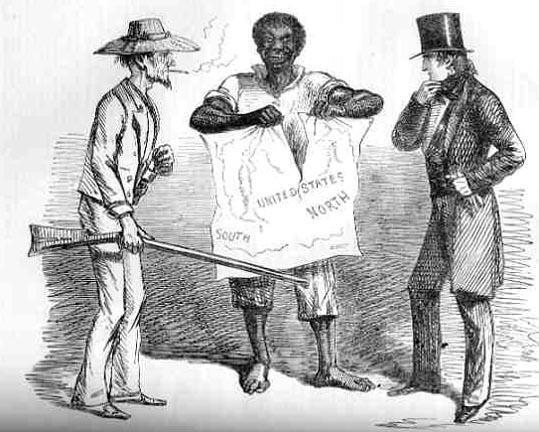 Analyzing Political Cartoons What does this picture suggest the issue of slavery is doing to the United
