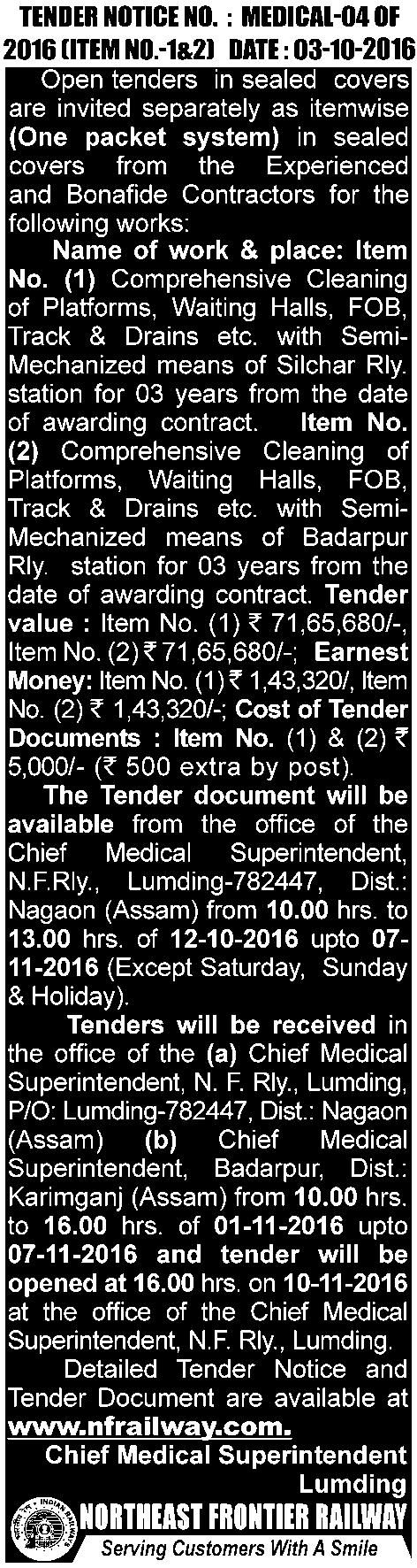 BUSINESS & ECONOMY FRIDAY, OCTOBER 21, 2016 THE ASSAM TRIBUNE, GUWAHATI 11 NOTICE INVITING QUOTATION Sealed quotations affixing court fee stamp worth Rs.8.