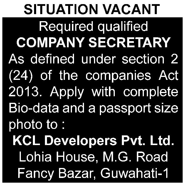2 THE ASSAM TRIBUNE, GUWAHATI FRIDAY, OCTOBER 21, 2016 Walk-in-interview Telecom Associates urgently requires following personnel having excellent knowledge in Excel (1) 7nos of Male Field Collection