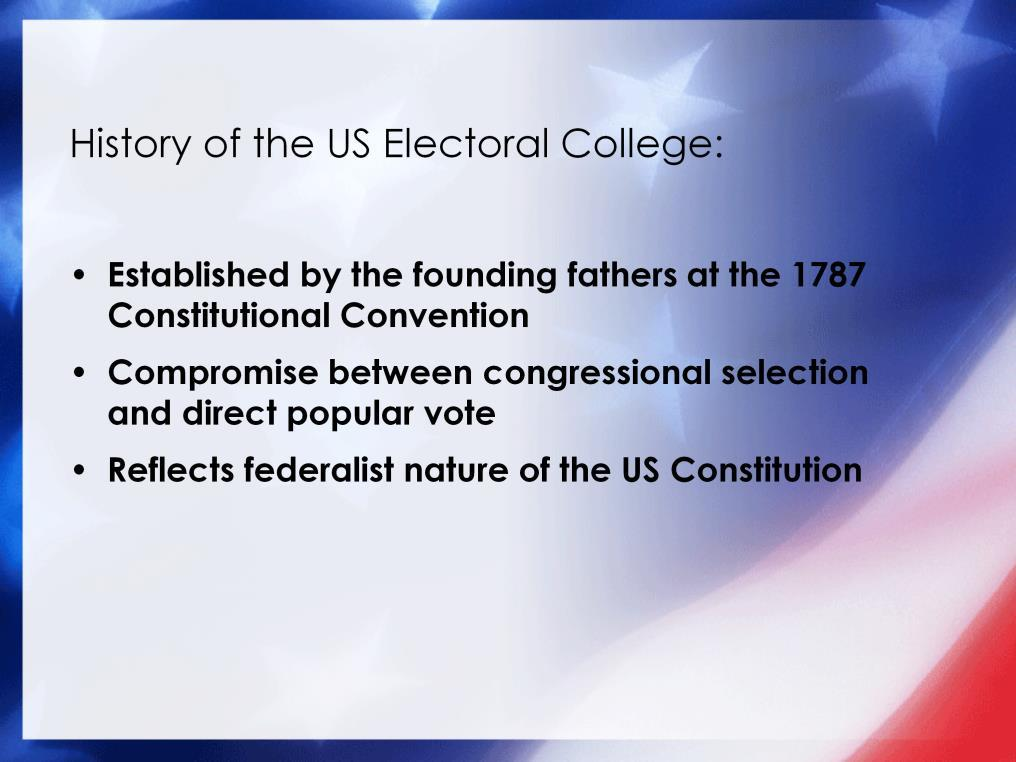Established in Article II, Section 1 of the U.S. Constitution, the Electoral College is the formal body which elects the President and Vice President of the United States.