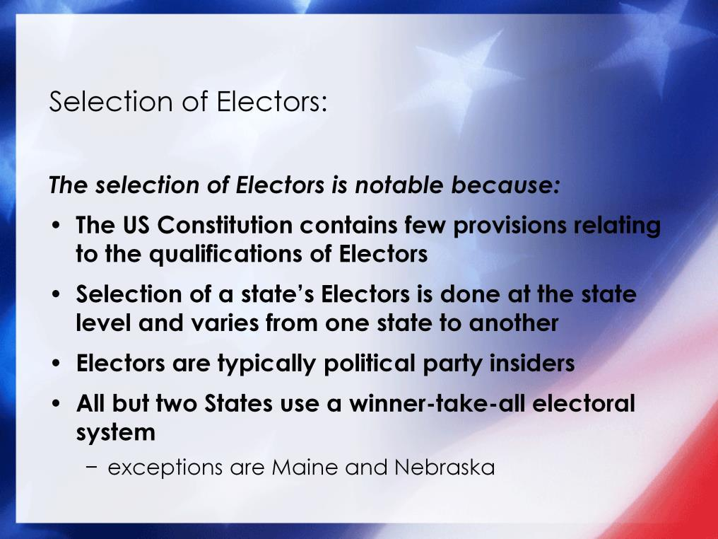 The U.S. Constitution contains very few provisions related to the qualifications of Electors.