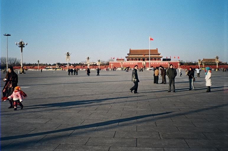 is the large plaza near the center of Beijing, China which sits to its north, separating it from the Forbidden City.