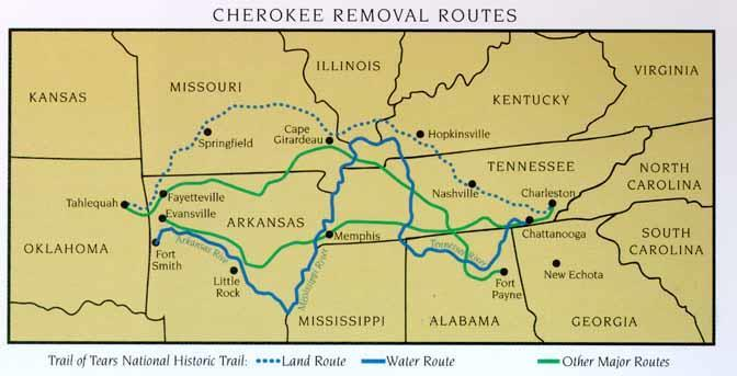 Trail of Tears In 1838, the army forcibly removed more than 16,000 Cherokee Indians from