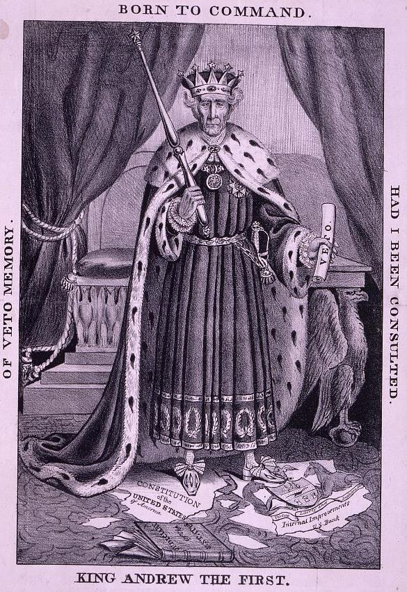 "A book ""Judiciary of the U[nited] States"" lies nearby. Anti-Jackson cartoon, shows him in regal costume, stands before a throne in a frontal pose like a playing-card king."