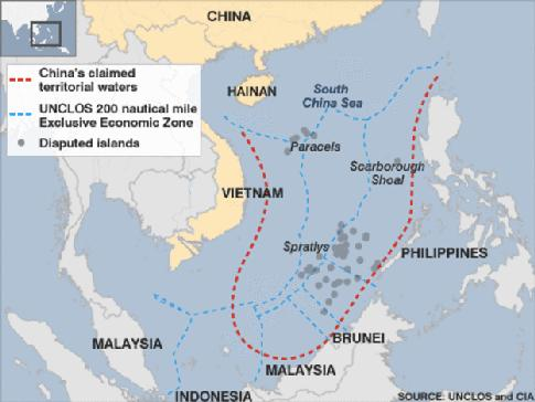 Definition of Key Terms South China Sea The South China Sea is a marginal sea that is part of the Pacific Ocean, which borders from the Singapore and Malacca strait to the strait of Taiwan.