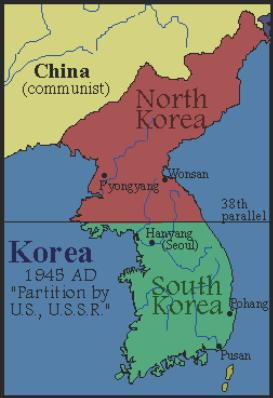 Korean War At the end of the war, Korea was divided at the 38th parallel. North Korea was communist, supported by the USSR. South Korea was democratic, supported by the US.