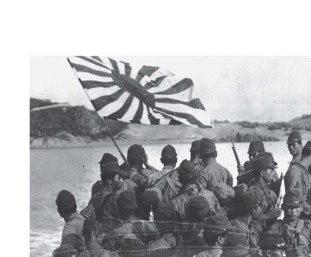 A Japanese landing party approaches the Chinese mainland. The invasion forced Mao and Jiang to join forces to fight the Japanese. Communist Party leaders realized that they faced defeat.